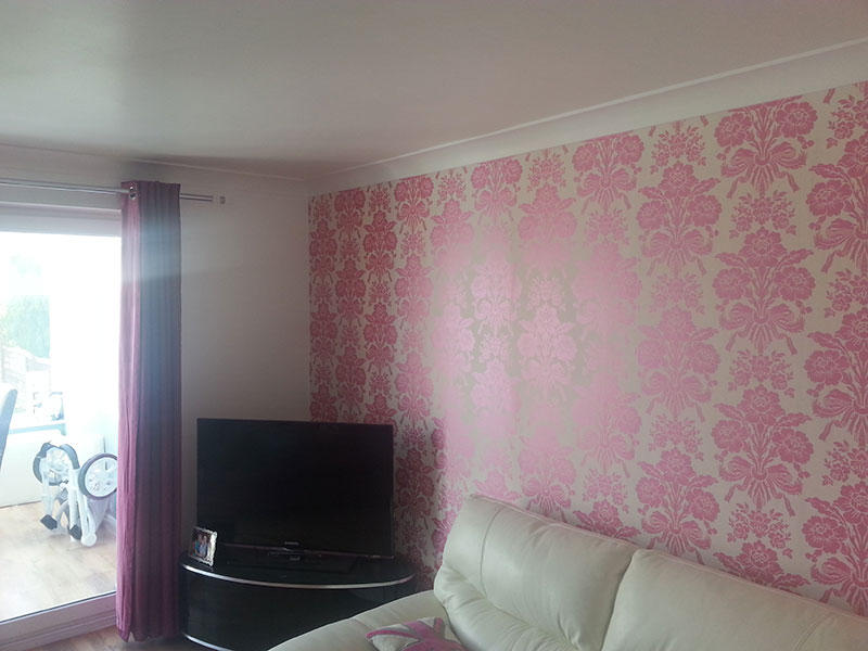 finished wallpapering in lounge